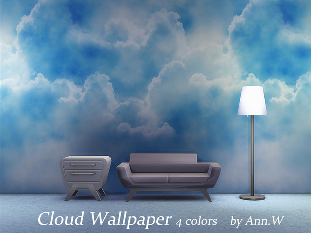 wallpaper cloud 4 colors ann the sims 4 game cc download. Black Bedroom Furniture Sets. Home Design Ideas