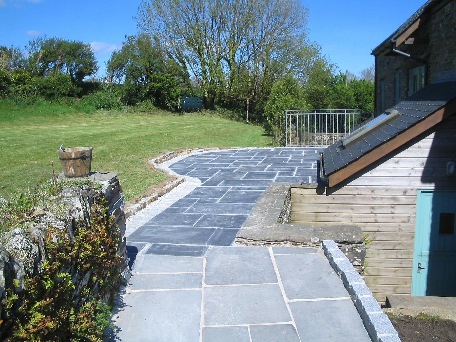 Landscape Gardening Cornwall | Black Limestone Patio