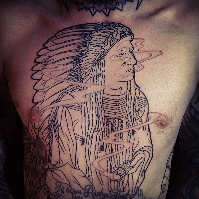 Severe ink indian chief outline tattoo for Indian ink tattoo