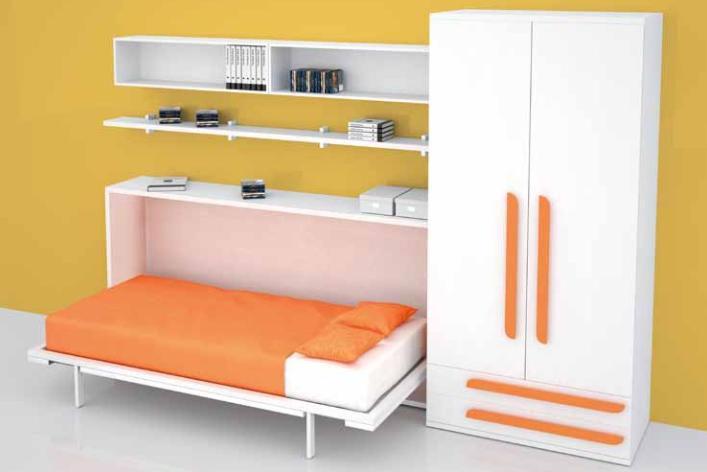 Lit et chambre enfant gain place for Matelas pour lit escamotable
