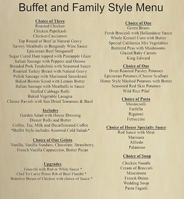 Wedding Buffet Menu: Crystal Gardens / Wedding