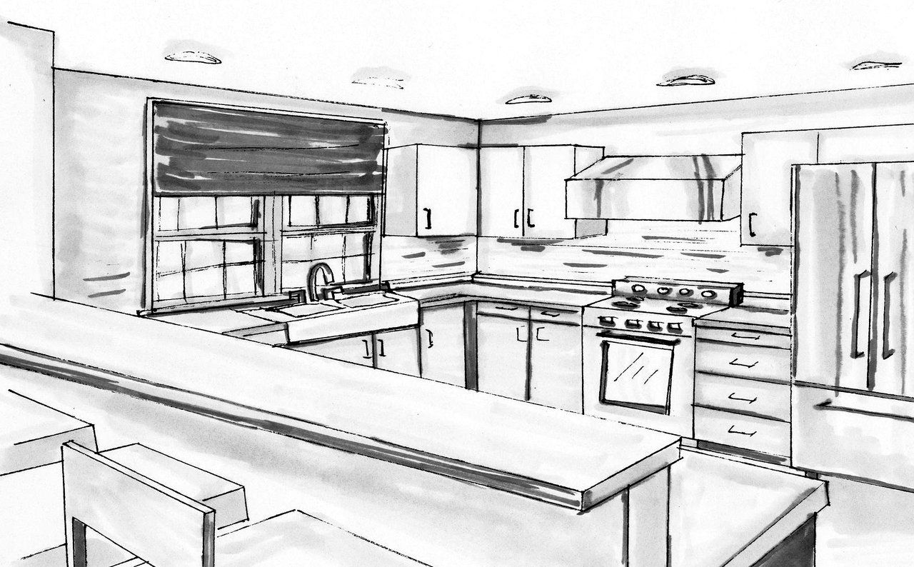 Allison macgregor interior design for Interior designs kitchen sketches