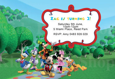 Mickey Mouse Clubhouse Background Invitation
