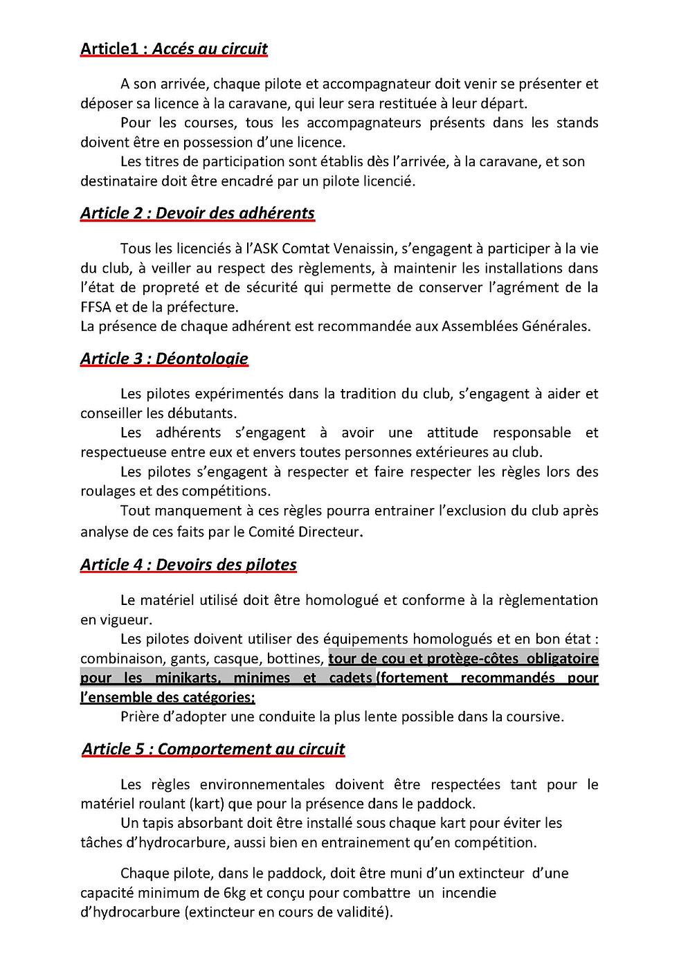 Karting carpentras r glement int rieur for Reglement interieur association sportive