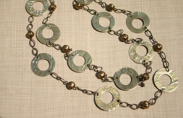 Textured Brass Necklace