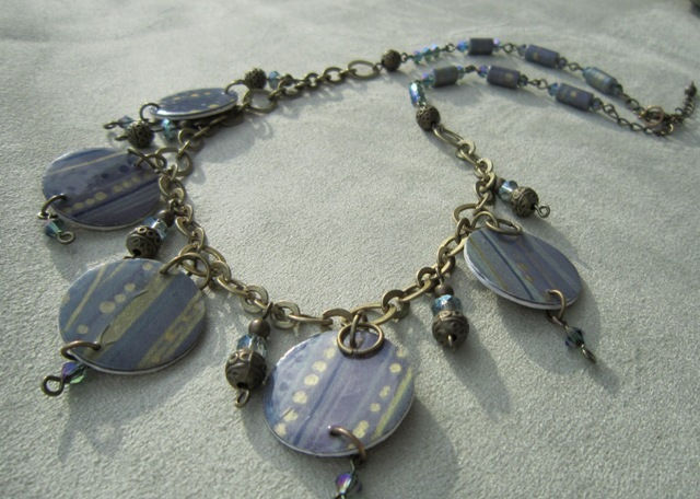 Paper Bead Charm Necklace