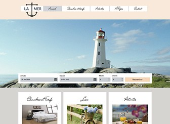 Chambres d'Hôtes Mer Template - Featuring charming fonts and neutral colors, this elegant theme is perfect for your hotel, inn, or bed and breakfast. Customize the photo gallery and add text to promote your rooms, rates, and location. Craft a professional website and watch your business grow.