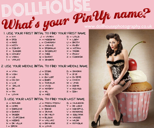 What Is Your Pinup Name Dollhouse Photography Award