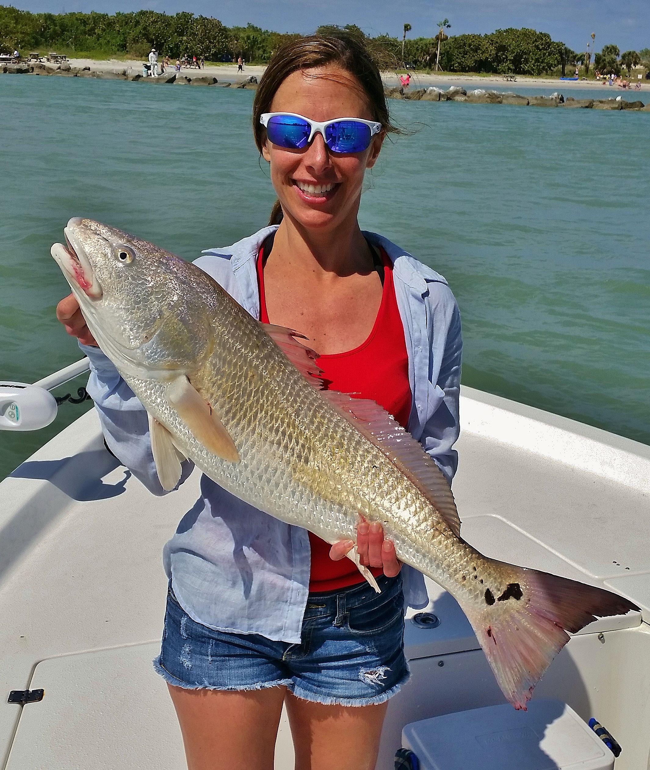Jenna battles a redfish sebastian gypsy fishing charters for Sebastian fishing charters