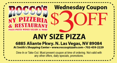 Rocco's New York Pizza Coupon North Las Vegas NV