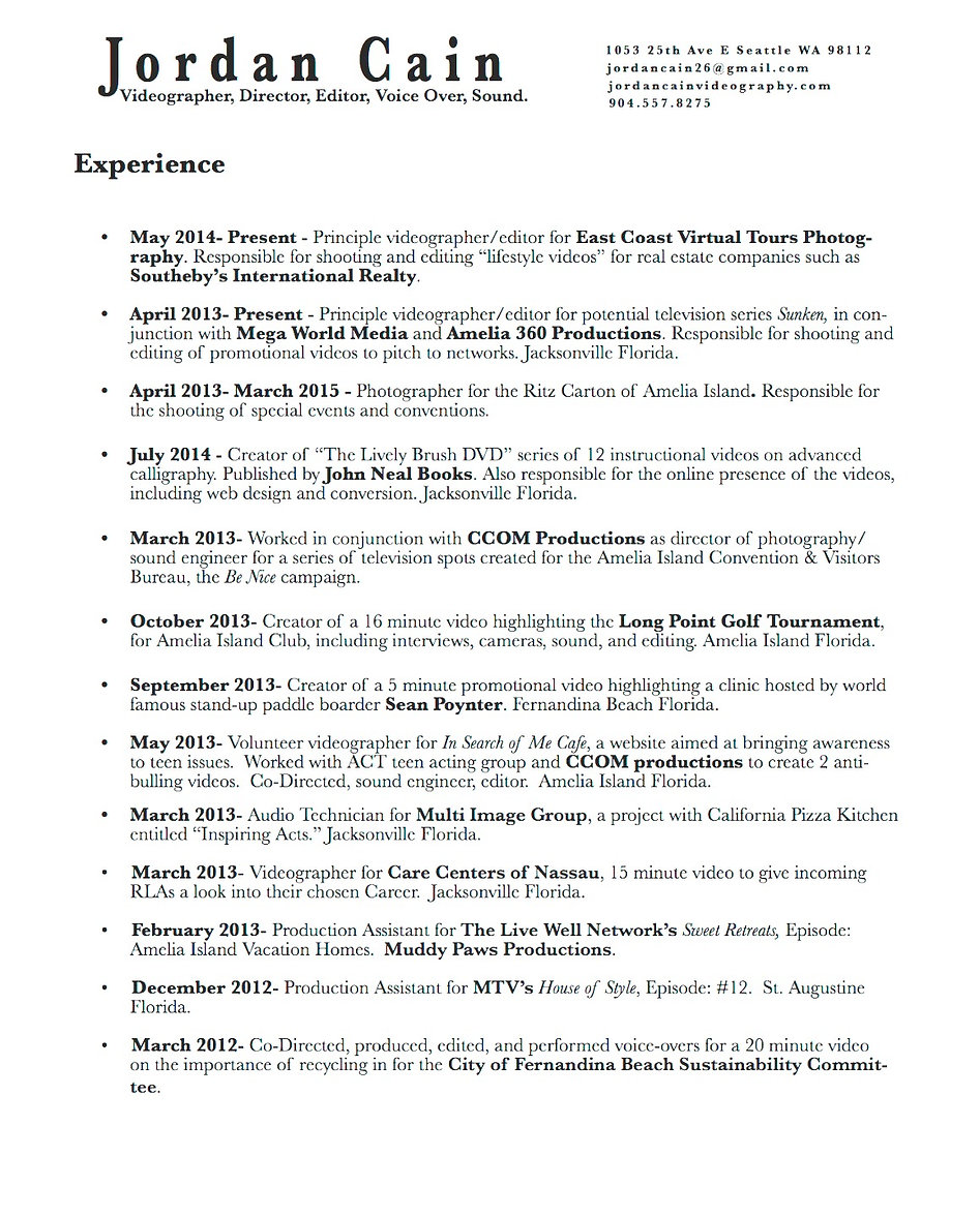 Videographer resume sample