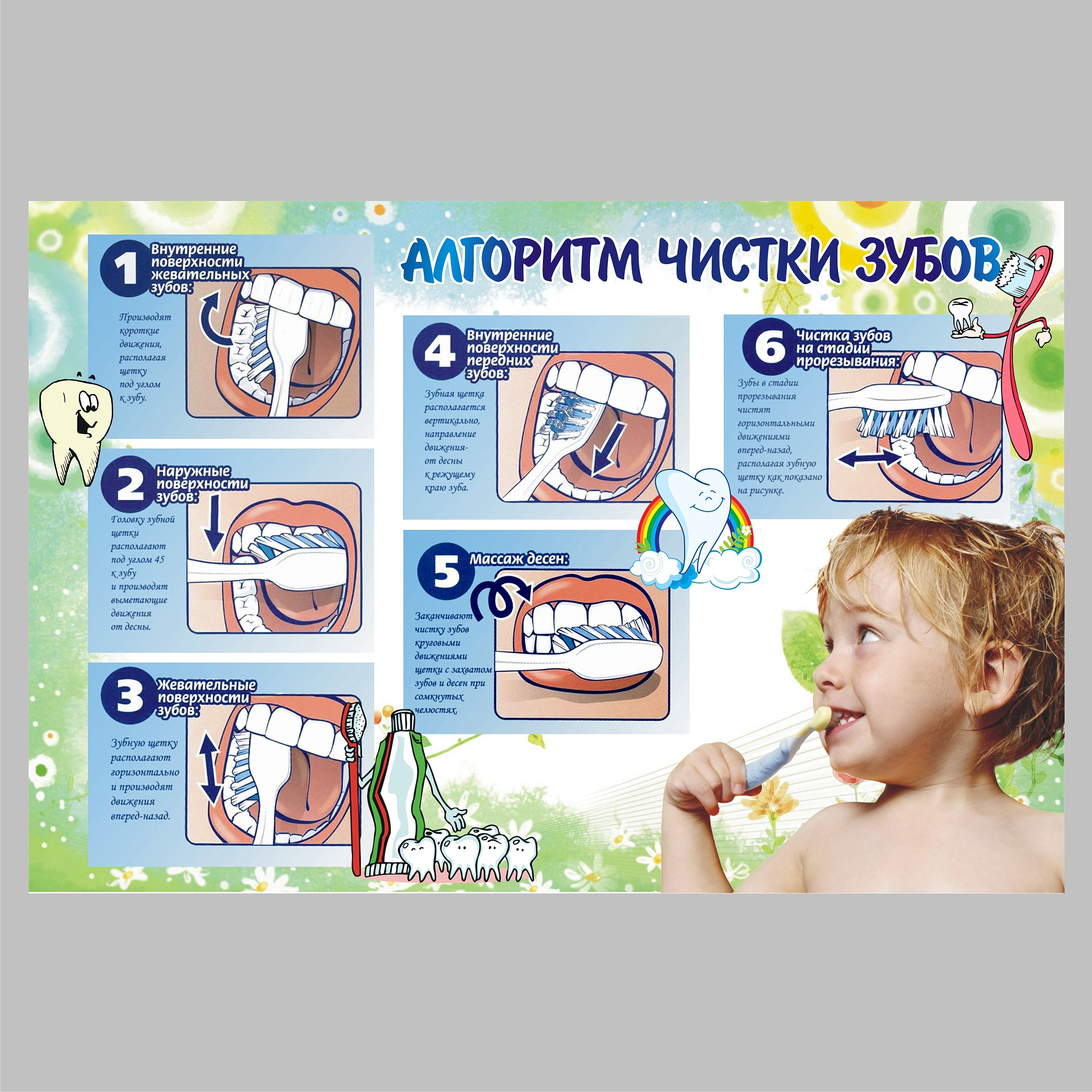 Детский сад.алгоритмы с картинками.чистка зубов