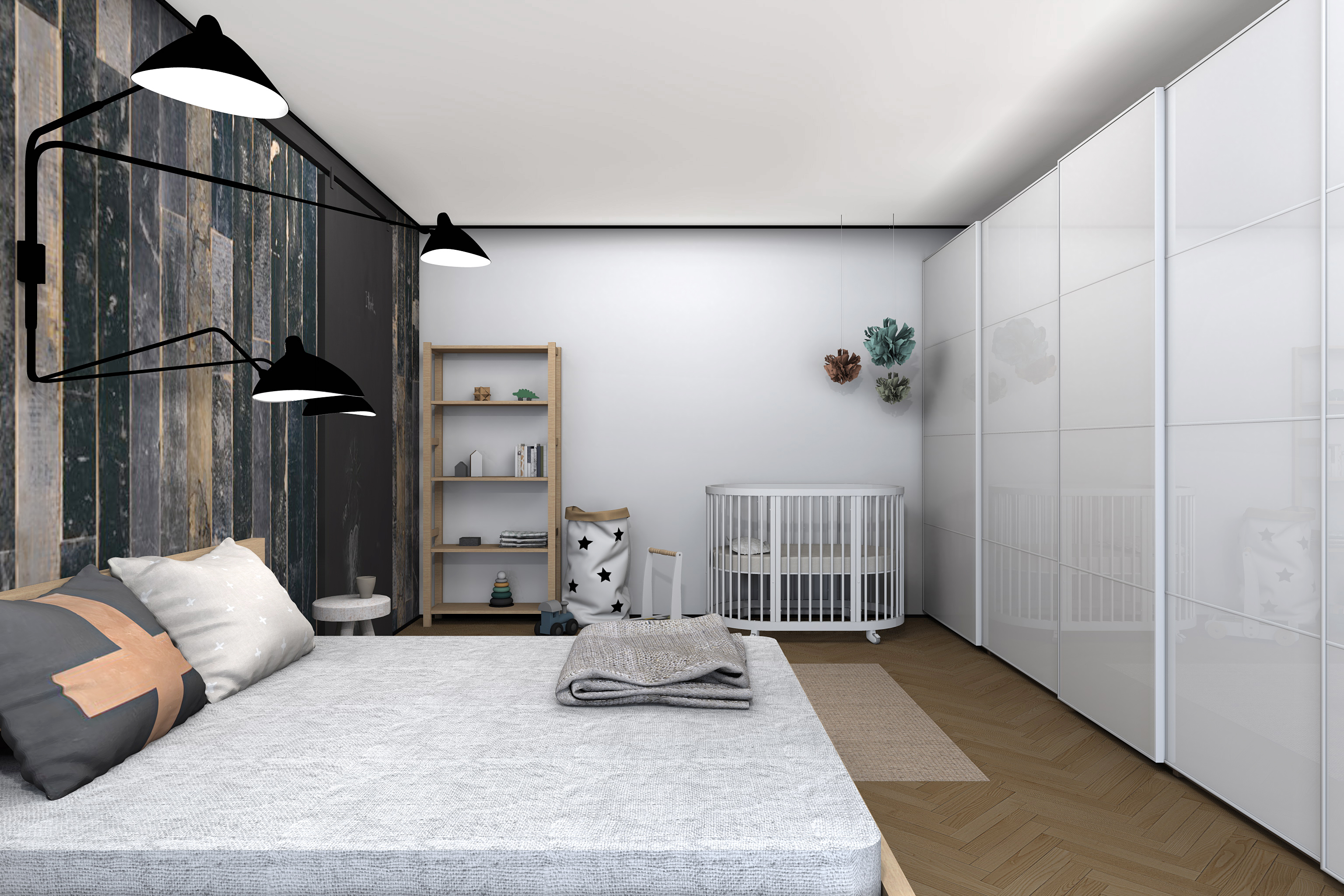 Дизайн комнаты для молодой пары с ребенком