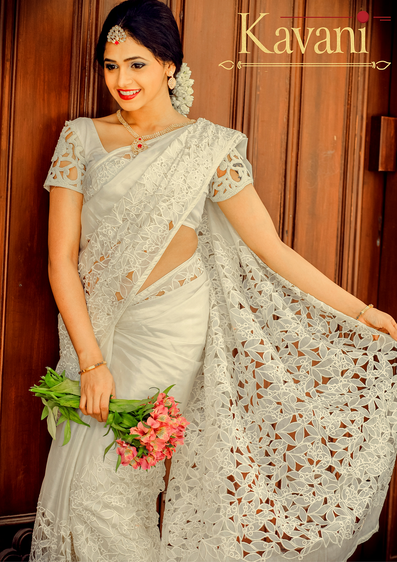 Pink amp White Net Embroidered Saree With Blouse