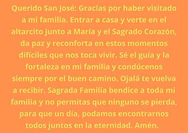 Querido San José Gracias por haber visitado a mi familia. Entrar a casa y verte en el alta