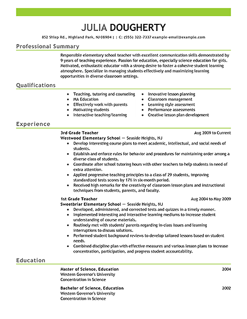 Superior Resume Review  Beginning Teacher Resume