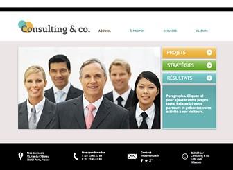 Conseillers Consultants Template - Avec ce template de site web sophistiqué, votre société va se démarquer ! Annoncez vos services et cultivez votre image professionnelle en ajoutant des textes et en modifiant la mise en page et le design. Commencez à le modifier et faites passer votre entreprise au niveau supérieur !
