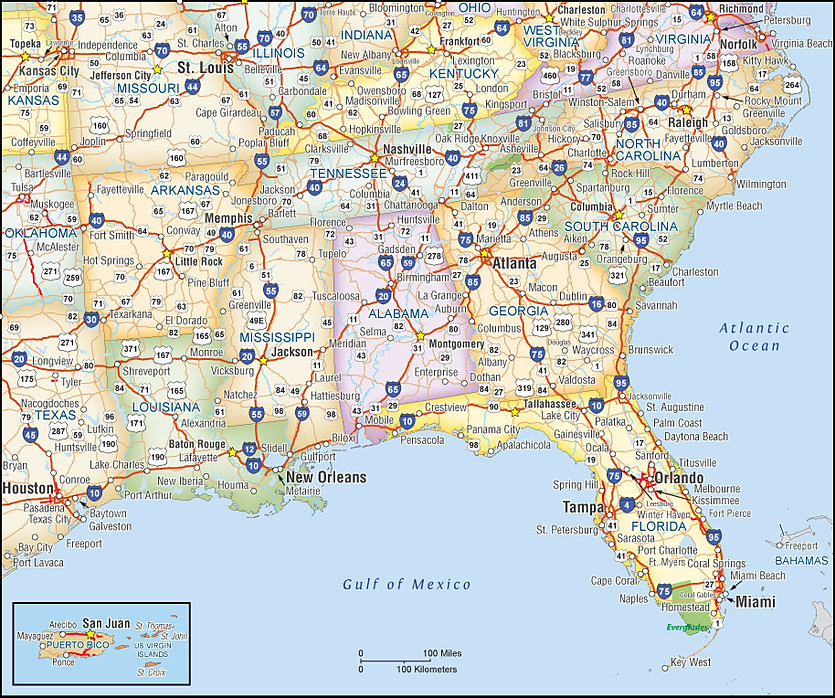 Map Of Southeast Usa World Map - Map of southeast us