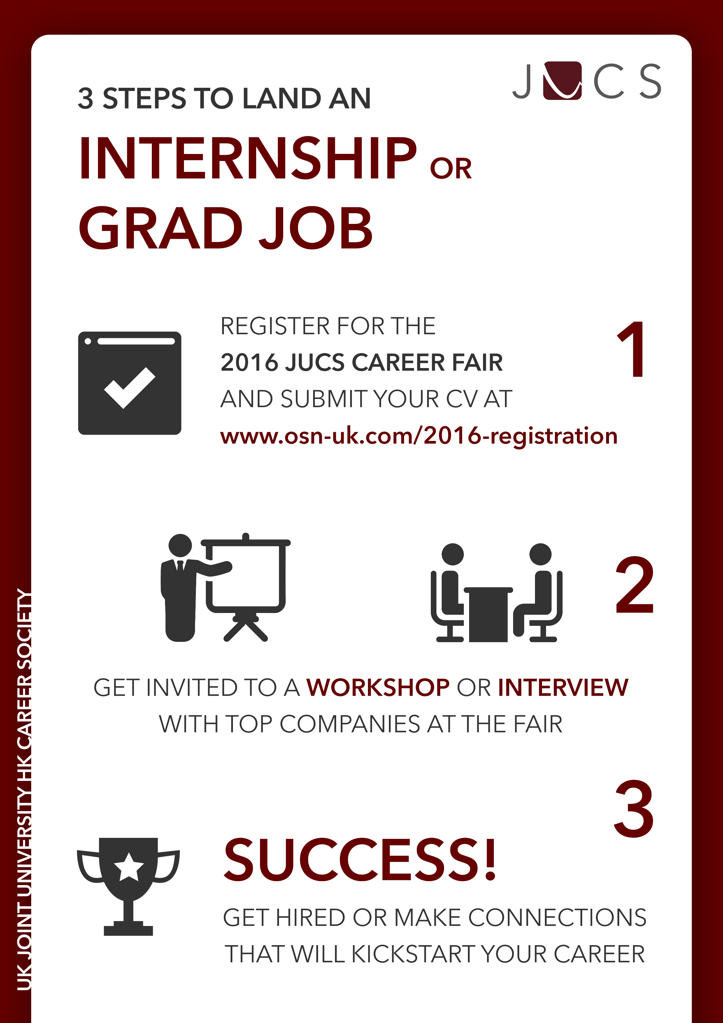 career advice jucs uk joint university hong kong career society 3 steps to land an internship grad job infographic