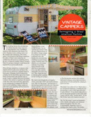 Womens Lifestyle July 2019 article on SKP's vintage camper remodels
