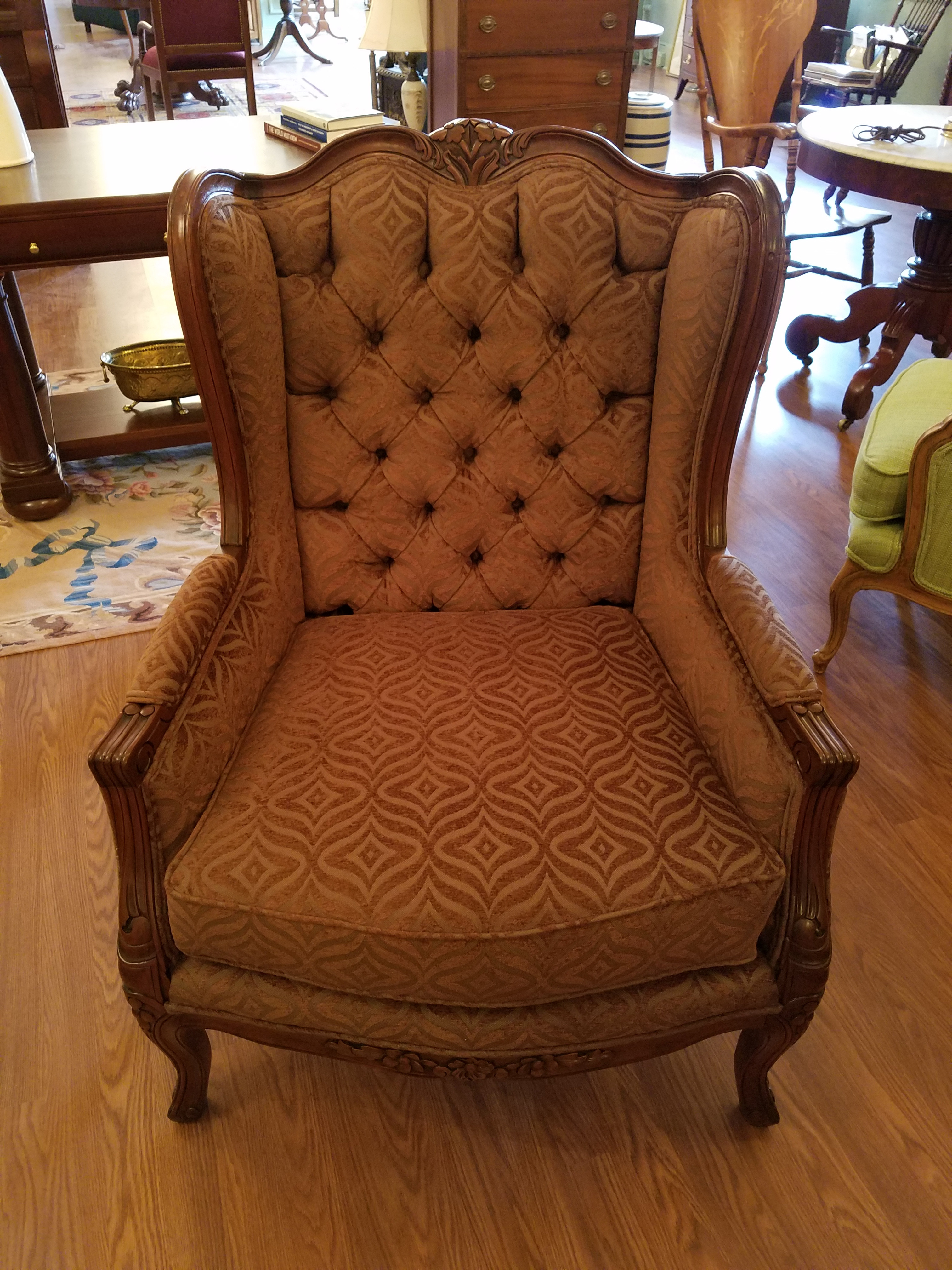 Solid Mahogany Wingback Armchair