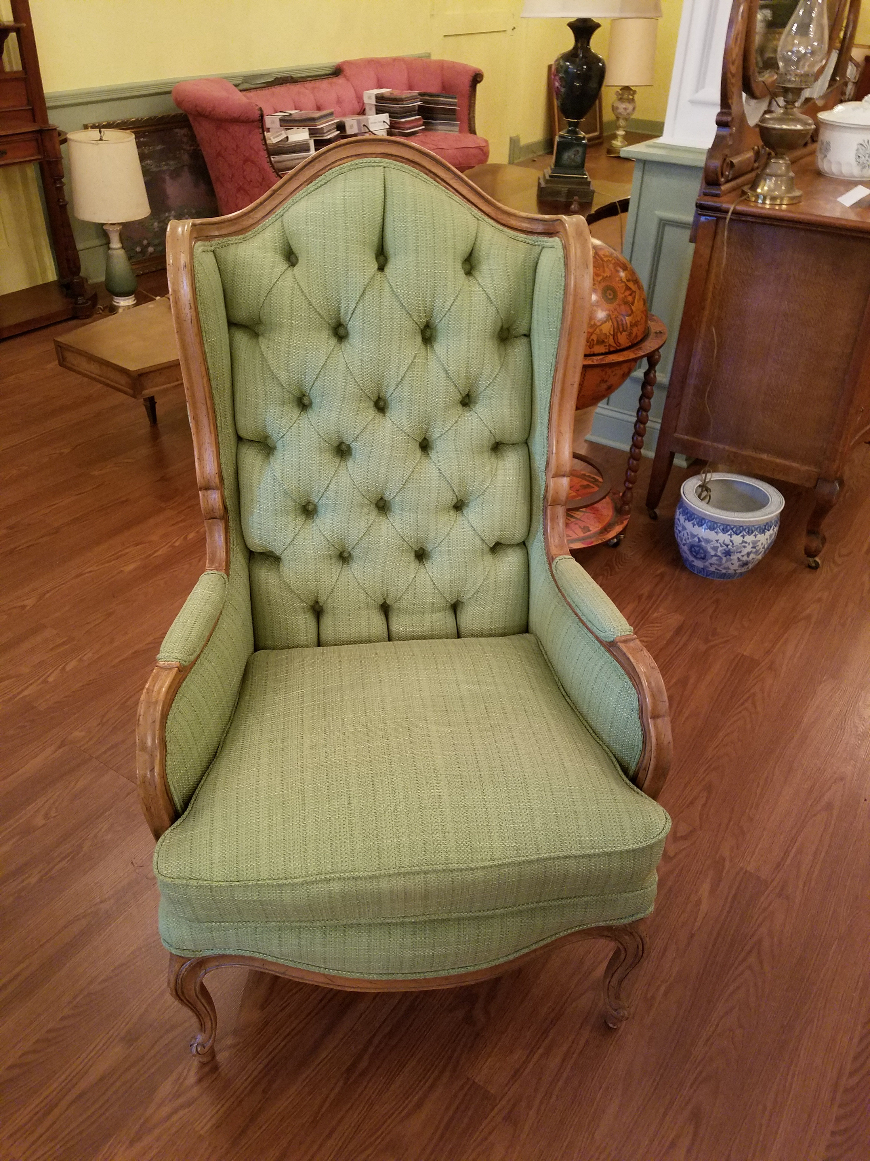 Mid Century Tufted Wing Chair