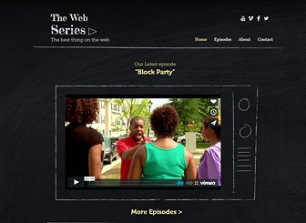 미니시리즈 웹드라마 Template - 단순한 디자인의 이 템플릿으로 재미있는 웹드라마를 공유할수 있는 홈페이지를 제작하세요. 첫 페이지에 최신 방송분을 공개하고, 팬들을 위해 지난 드라마들을 에피소드 페이지에 업로드하세요.