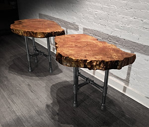 CARVED TRUNK END TABLES
