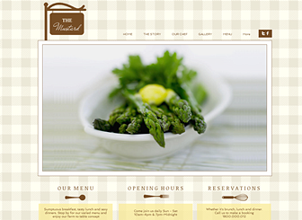 The Diner Template - Combining downhome spirit and upscale style, this website template is perfect for restaurants, cafés, and catering companies. Add a menu and upload images of your dishes to give customers a taste of your dining experience. Adjust the design and color scheme to match the tone of your eatery!