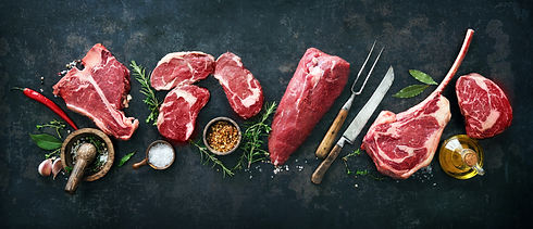 Variety of raw beef meat steaks for gril