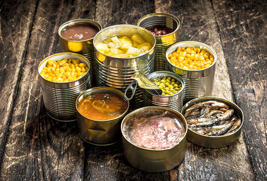 Various canned vegetables, meat, fish an