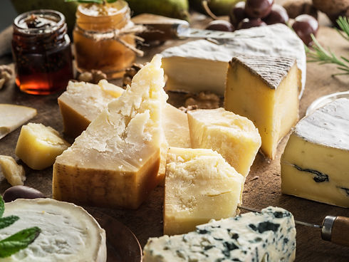 Piece of Parmesan cheese and assortment
