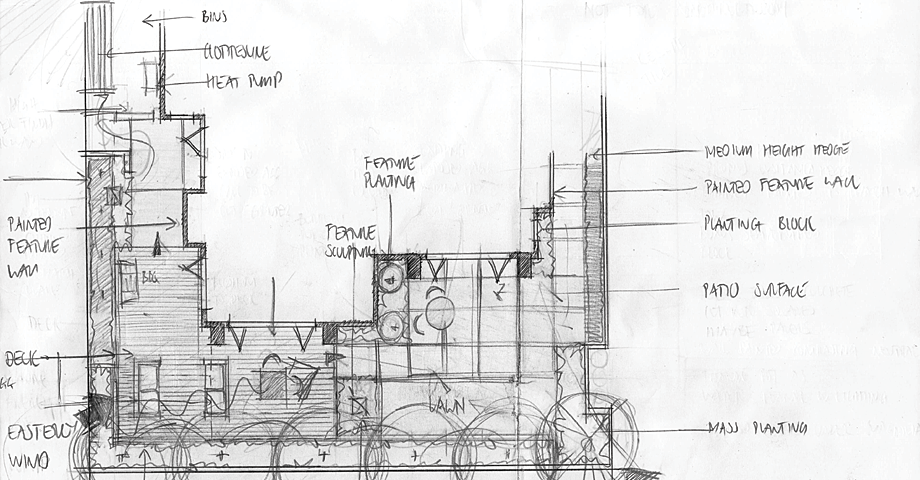 Initial sketches garden architecture landscape design for Landscape design christchurch