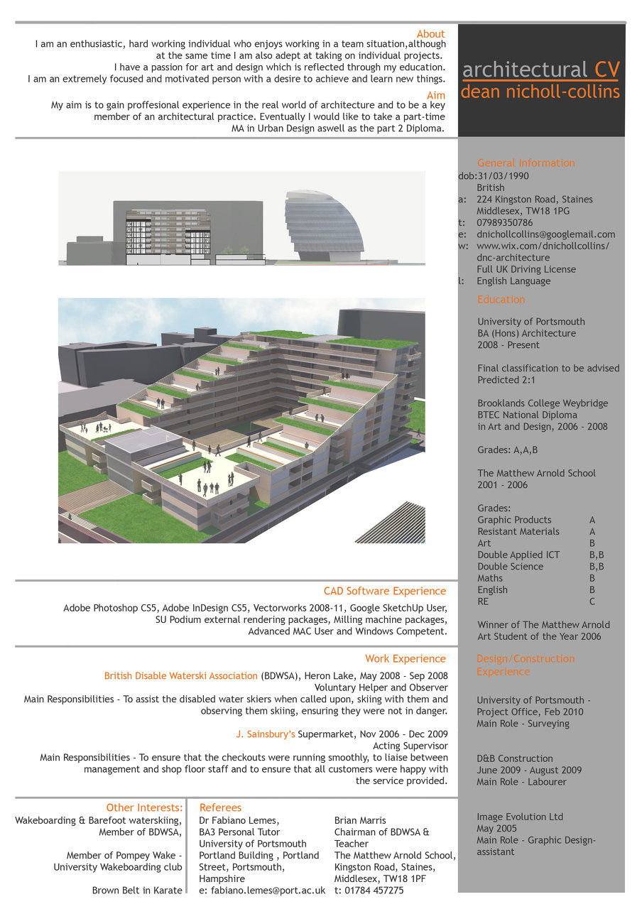 dean nicholl collins architecture student wix