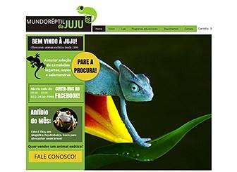 Mundo dos Répteis Template - Camaleões ficam camuflados, mas sua empresa deve se destacar. Personalize este simpático e arrojado template para colocar online sua loja de répteis ou negócio com animais de estimação exóticos. Adicione imagens, vídeos e texto para criar um site exclusivamente seu!