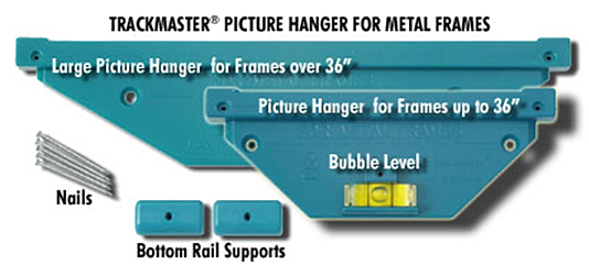 check out our new security kits for metal frames kit include the framesecure system for use as bottom rail supports for trackmaster standard and large