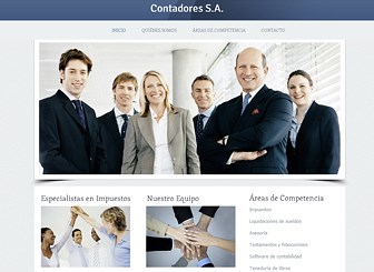 Contadores Template - Este elegante diseño proyecta una imagen profesional a tus clientes. Agrega texto para resaltar los puntos fuertes de tu empresa y tu experiencia en la industria. Comienza a editar esta plantilla web para promocionarte online.
