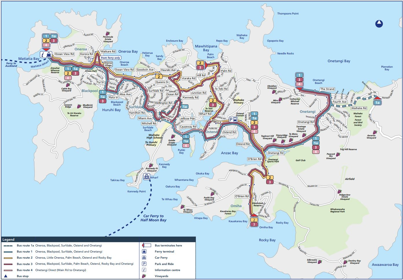 Waiheke Island Hop On Hop Off Bus Map