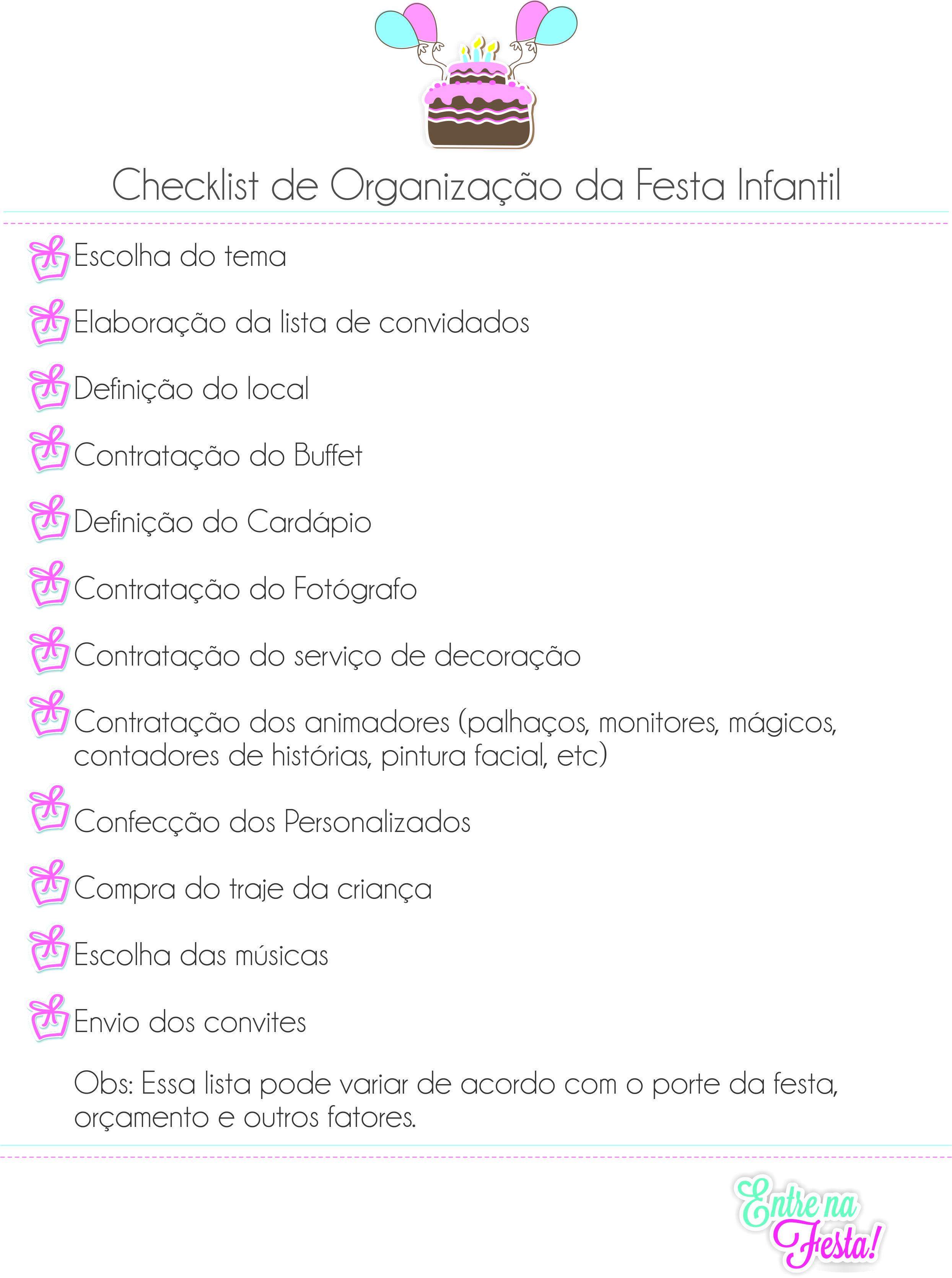 Super Checklist de organização para festa infantil. | ENTRE NA FESTA! VH32
