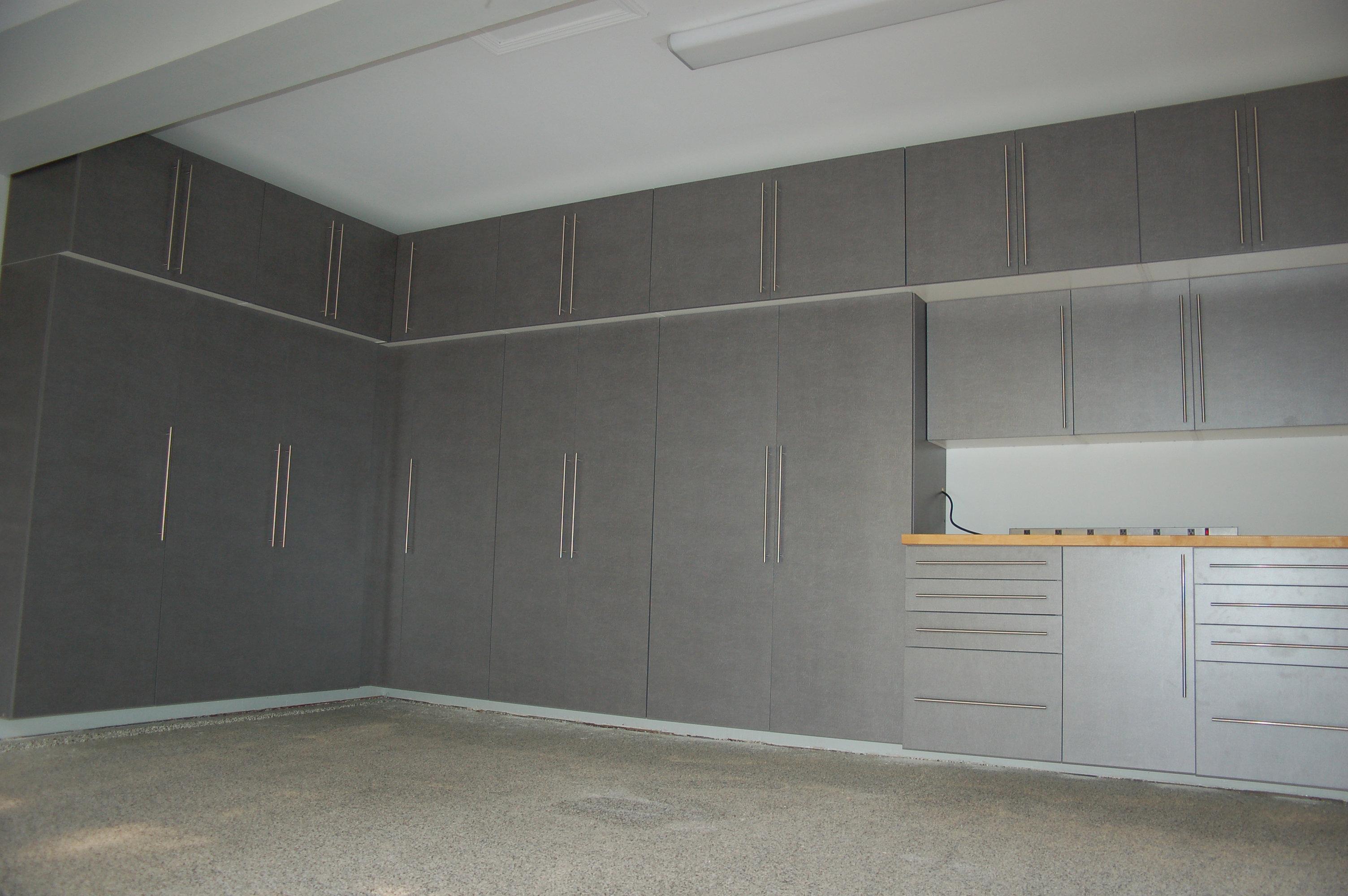 Floor To Ceiling Garage Cabinets Recent Garage Enhancement Projects Garage Cabinets Flooring