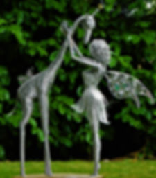 Wired to the Moon Unique Wire Sculptures Fairy with giraffe