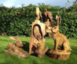 Fear na Coillte Chainsaw Scuptures.  Selection of Chainsa carvings by Will Fogarty. Hare, squirrel, eagle