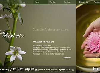 NuLife Club Template - A soft and inviting earth toned website design. Make your visitors feel right at home with this spa themed template.