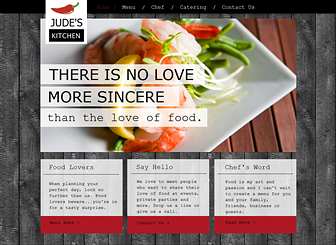 Chef Kitchen Template - Create a website for your restaurant or catering service that's as fresh as your ingredients. Upload images to the photo gallery and menu to show off your dishes in delectable detail. Play with color and add text to build a free website worthy of your culinary creations.