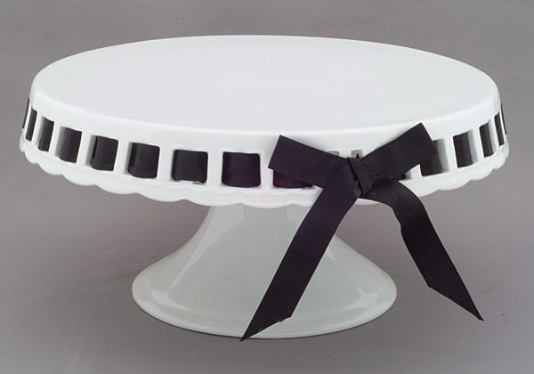 White Glass Cake Stand With Ribbon