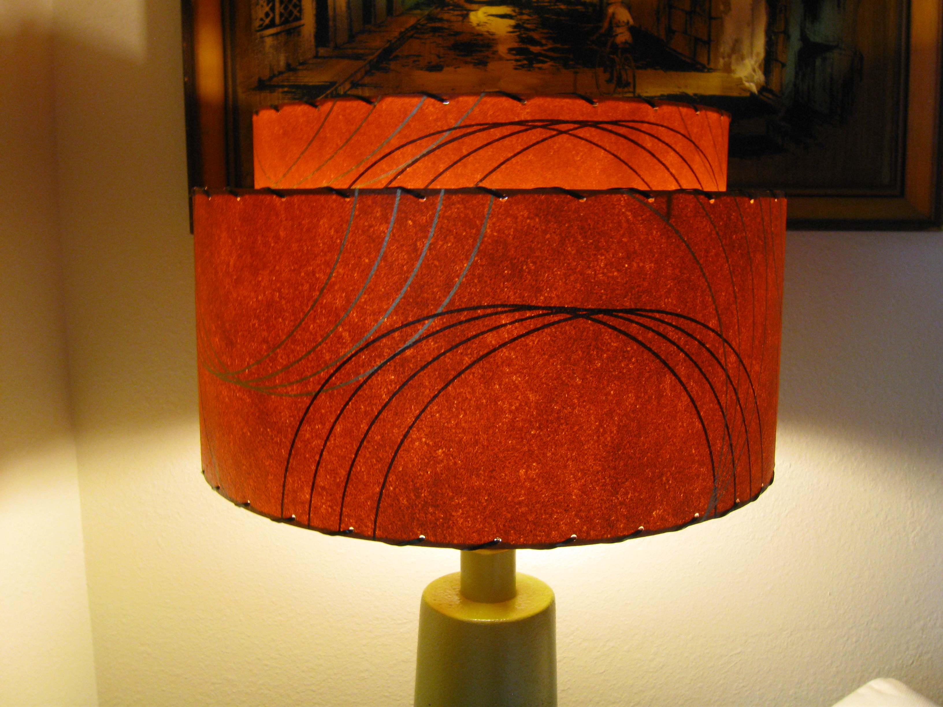 Retromod design reproduction fiberglass lamp shades Light burnt orange paint