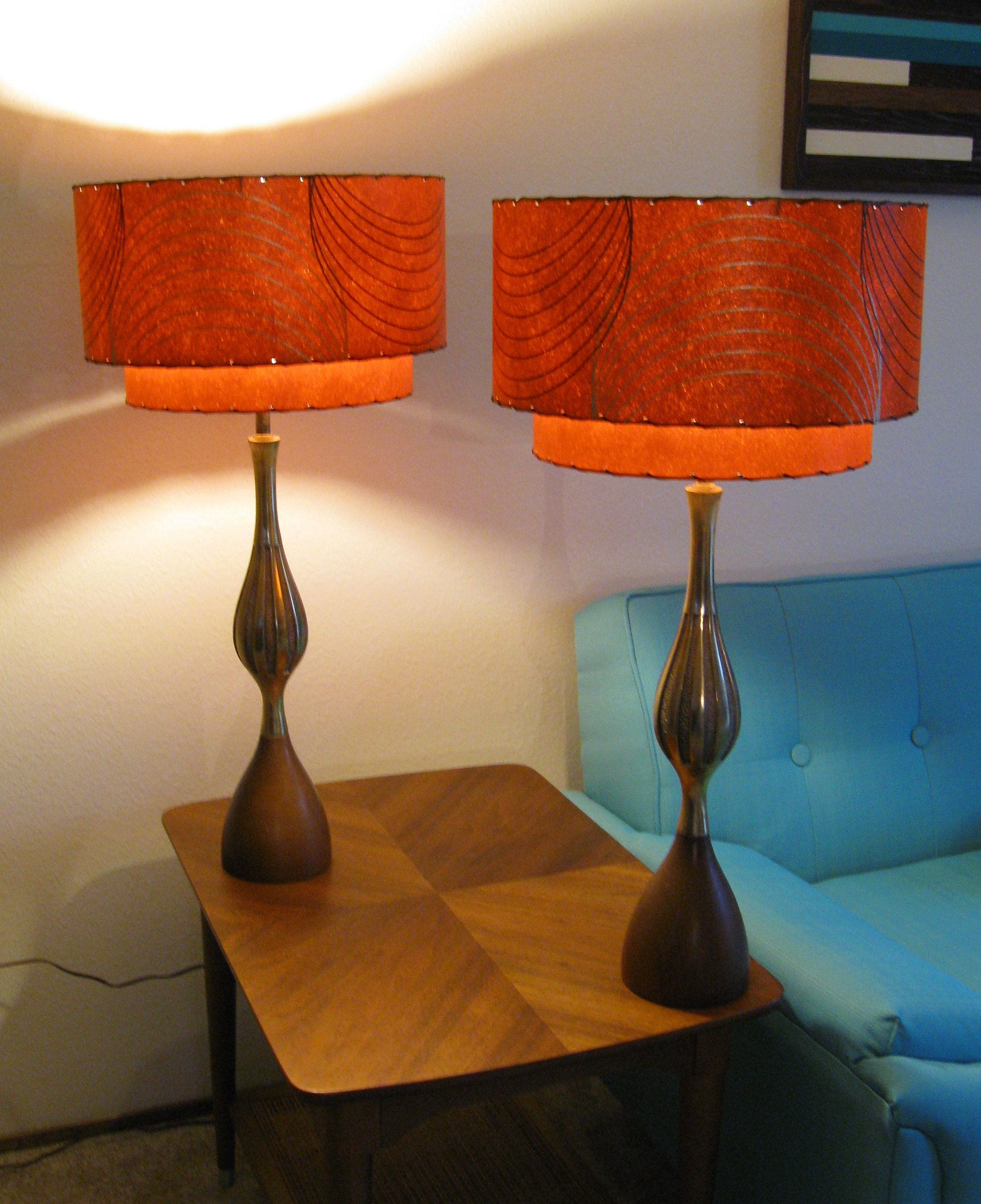 Orange lamp shades - Retromod Design Reproduction Fiberglass Lamp Shades Vintage Fiberglass Lamp Shades Burnt Orange 2 Tier Invert