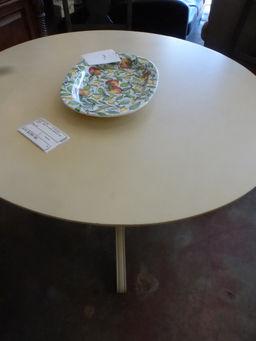 Dining table off white pedestal 42 round rebound for Off white round dining table