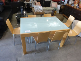 ... Dc Furniture Consignment By Blonde Birch W Frosted Glass Top Amp 8  Chairs Rebound ...