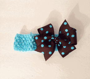 Brown and Blue Polka Dot Baby Head Band.png